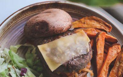 Portobello burger met frietjes